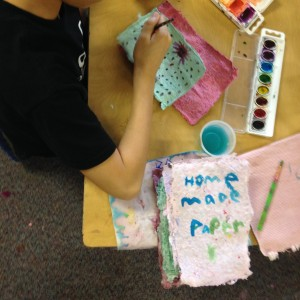 We used our handmade paper to make maps, books, and even blocks and letters.