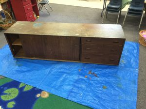 Before the kids got their hands on it, this old dresser was definitely in need of some sprucing up!