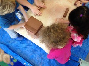 From raw clay to the finished product will slowly arise. Even the youngest loves rolling out clay to soften it up though!